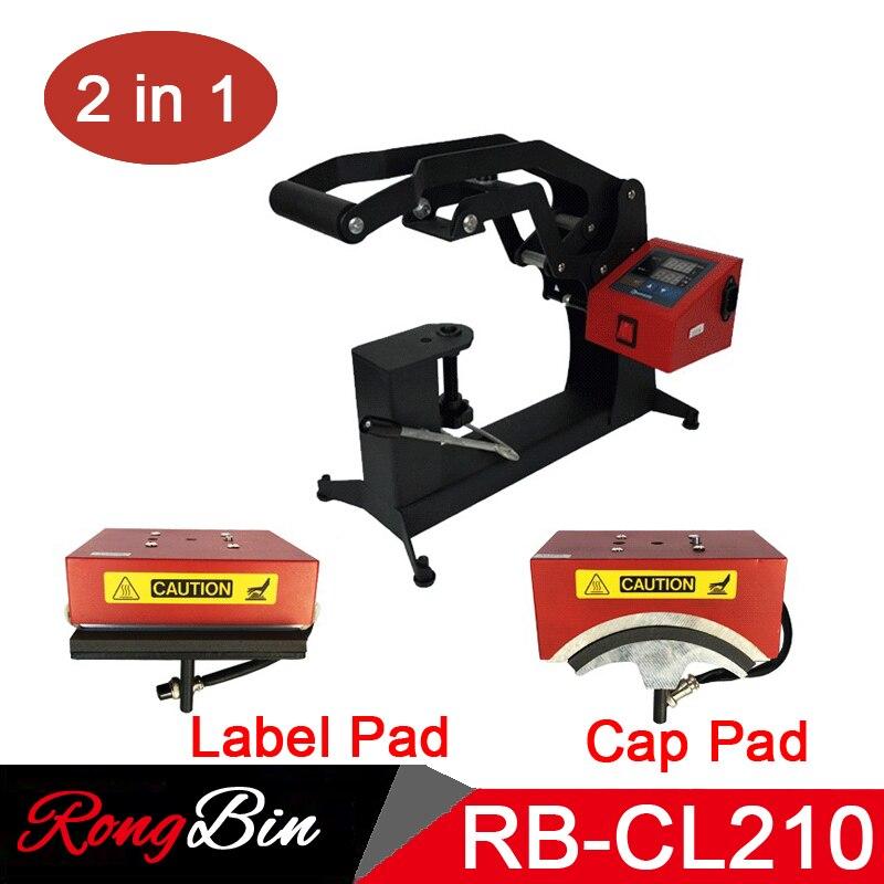 2 in 1 Combo Digital Cap Heat Press Machine 15x15CM Logo Label Printing Machine DIY Custom Sublimation Printer mesin pres topi png