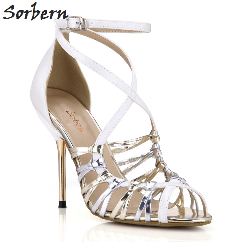 цены Sorbern Women High Thin Metal Heels Sandals For Ladies Party Shoes Summer Sandals Women Sandals 2018 Buckle Sandals