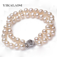 YIKALAISI 2017 New Fashion 100% Natural White Freshwater Pearl Bracelet with 925 sterling silver jewelry Clasp Cultured pearl