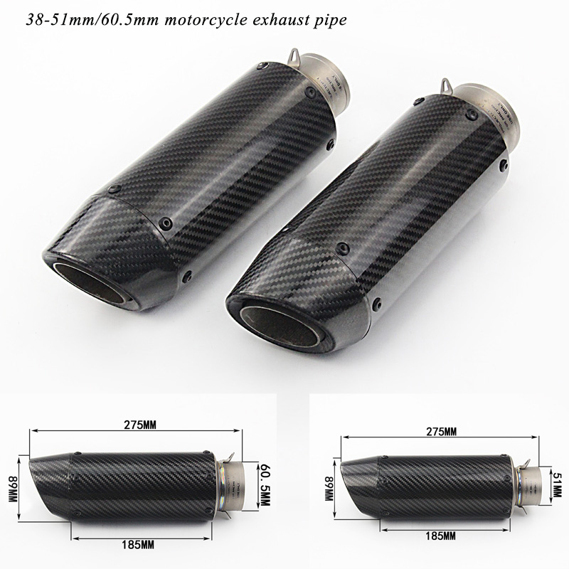 275mm Short Real Carbon Fiber Silencer System Modified Motorcycle Tial Exhaust Muffler Pipe For 51mm 60
