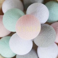 20 White Light Grey Mint Pastel Pink Cotton Balls Lights For Bedroom Kid S Room Garland