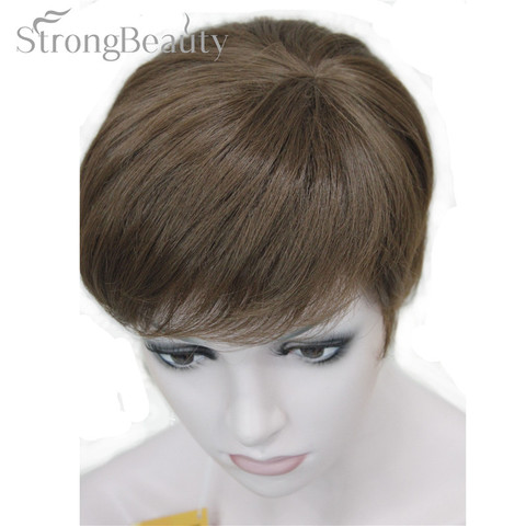 StrongBeauty Synthetic Straight Hair Boy Short Side Part Black/Brown Cosplay Men/Women Wigs Islamabad