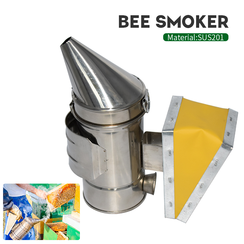 Stainless Steel Manual Bee Smoker Transmitter Kit Beekeeping Tool Equipment Hive Smoke Sprayer