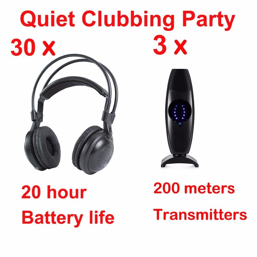 Professional Silent Disco compete system wireless headphones - Quiet Clubbing Party Bundle (30 Headphones + 3 Transmitters)Professional Silent Disco compete system wireless headphones - Quiet Clubbing Party Bundle (30 Headphones + 3 Transmitters)