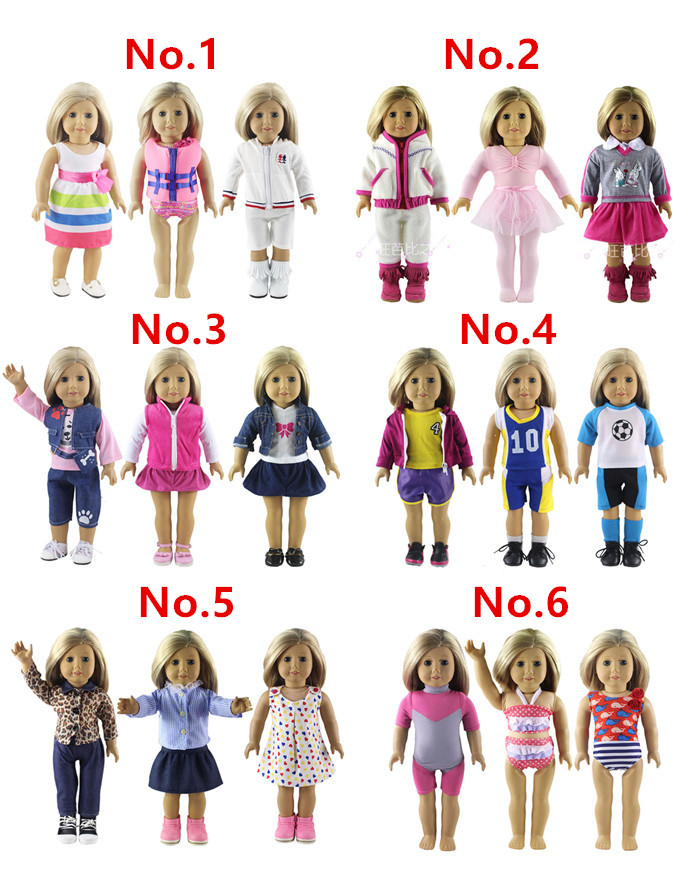 3 Set Doll Clothes for 18 Inch American Girl Handmade Casual Waer Clothes american girl doll clothes white wedding 18 inch doll clothes madame alexander handmade american girl doll clothes 4 styles d 1