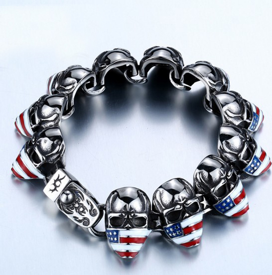 Punk Style Rock Roll Anti Silver Motorcycles Biker Skull Bracelets With American Flag Mask Colored Heavy Link In Chain