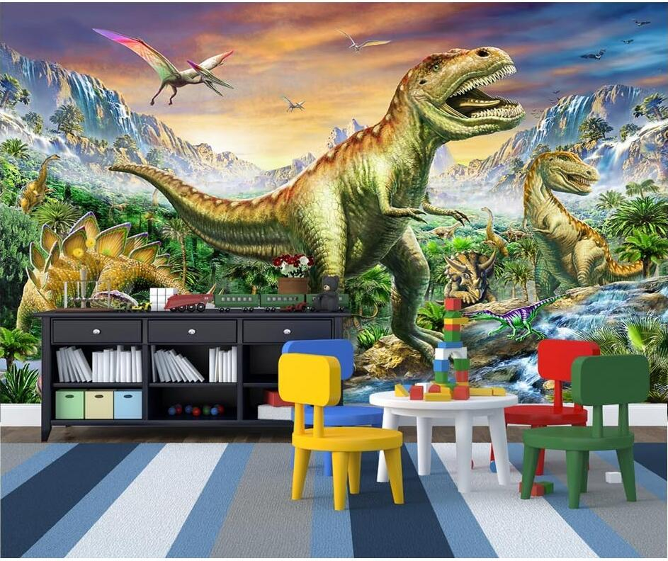 Custom mural 3d wallpaper forest tyrannosaurus dragon for Custom mural painting