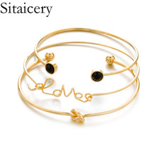 Sitaicery 3PCS/Set Cuff Bracelet Bangle For Women Rose Gold Silver Engraved Love Bracelets Wife Women Personalized Gifts Jewelry sitaicery 3pcs set cuff bracelet bangle for women rose gold silver engraved love bracelets wife women personalized gifts jewelry