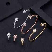 Jankely Роскошный Уникальный Африканский браслет кольцо набор комплекты украшений для женщин свадебный кубический циркон Кристалл CZ Дубай Свадебный ювелирный набор