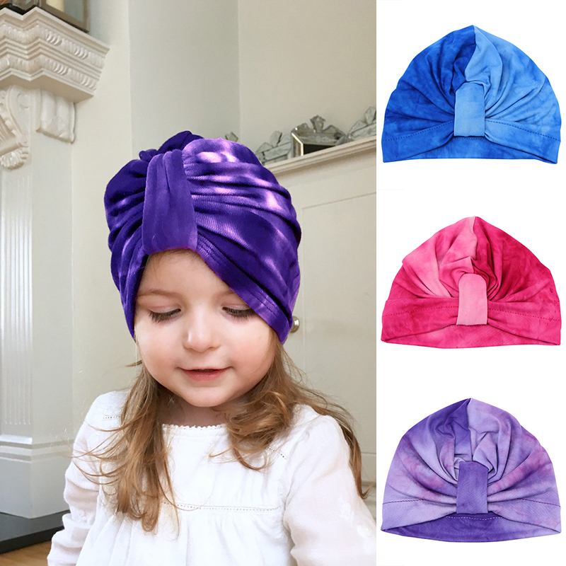 Baby Gradient Color Soft Cotton Knot Bohemia Style Flower Hat Indian Beanie Toddler Infant Kids Caps Lovely Bonnet Accessories