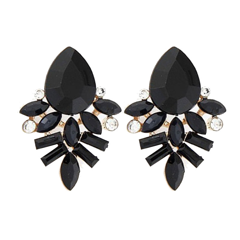 New Women Fashion Jewelry Style Blue Black Pink Earrings Handmade Rhinestone Sweet Stud Crystal For In From