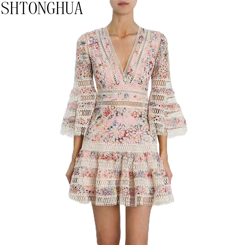 SHTONGHUA Luxury Summer Beach Dress 2019 Runway Women Embroidery Lace Patchwork Hollow Out Print Flower Lady