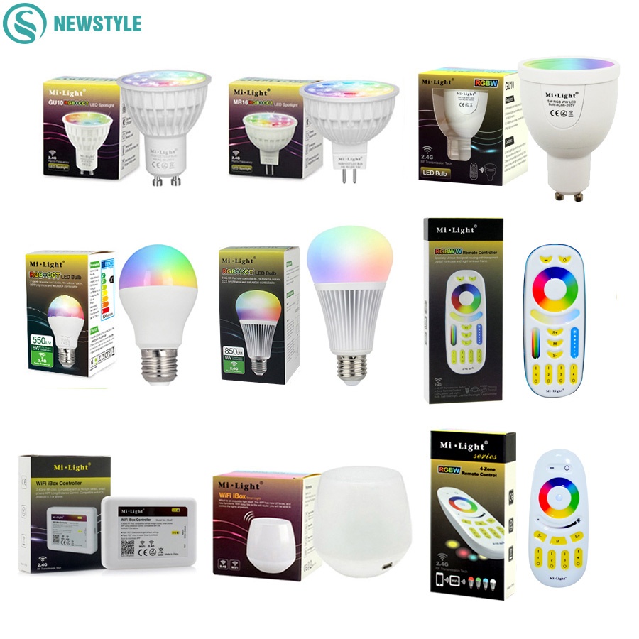 все цены на Mi Light Dimmable Led Bulb 4W 5W 6W 9W E27 MR16 GU10 RGBW RGBWW led Lamps Wireless Wifi Controller Box 2.4G RF Remote Controller