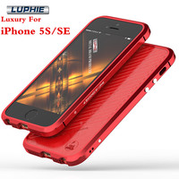 Luphie Mobile Phone Case For Apple IPhone 5S IPhone SE Anti Knock Aluminum Bumper Leather Sticker