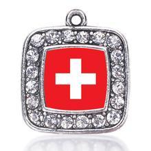 Флаг Швейцарии квадратный браслеты с подвесками