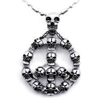 JewelryWe Biker Men S Silver Skulls Peace Sign Stainless Steel Pendant Necklace