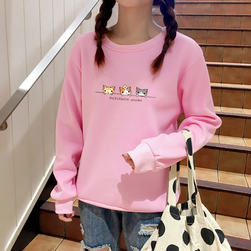 Women Hoodies Harajuku Kawaii Three Kittens Printed Sweatshirt Autumn Winter Thick Fleece Kpop moletom sudadera mujer Pullover