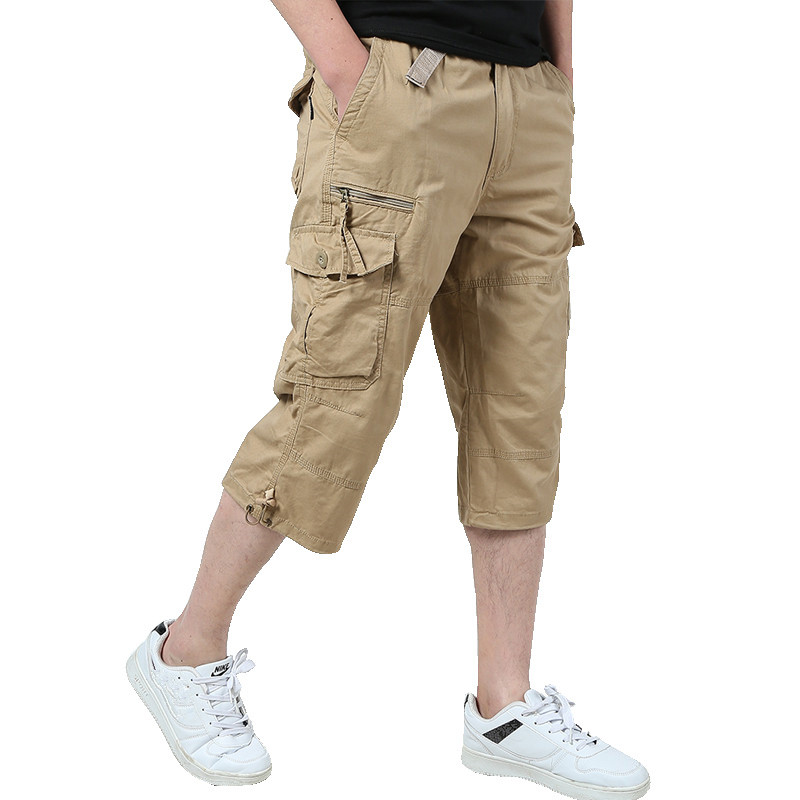 Long Length Cargo Shorts Men 2019 Summer Knee Multi Pocket Casual Cotton Elastic Waist Bermudas Male Military Style Hot Breeches