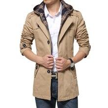 Новый Стиль Мужские Пальто Мода Однобортный Съемный Капюшоном Тонкий длинные Траншеи Пальто Мужчины Повседневная Мужская Длинное Пальто С...(China (Mainland))