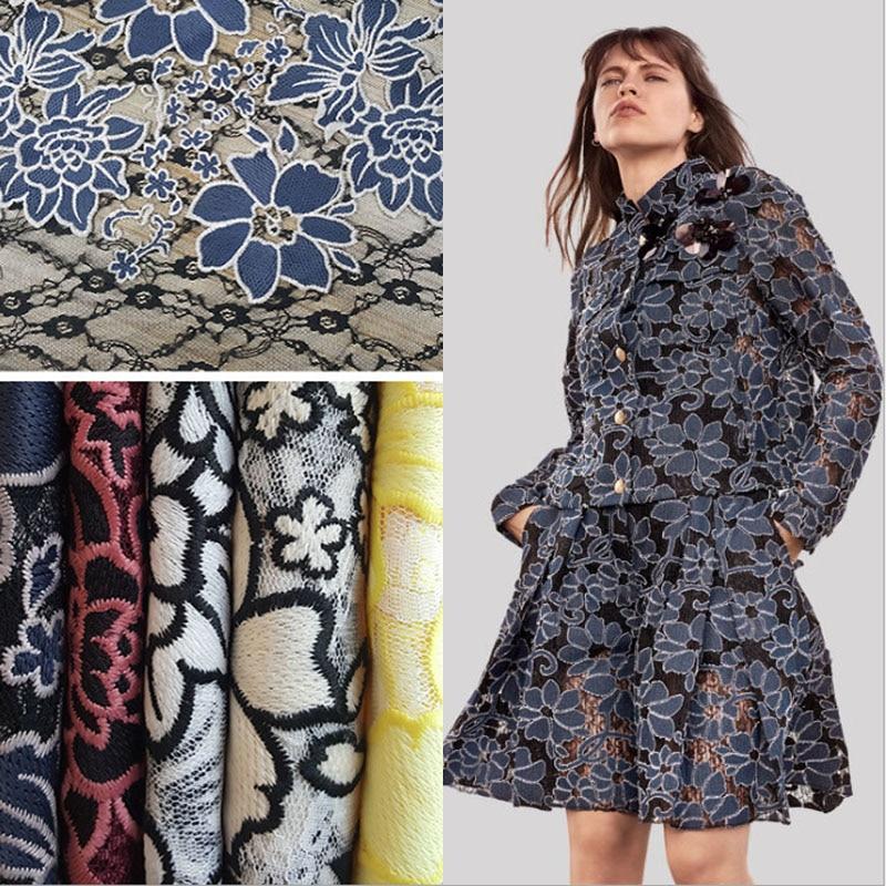 2018 new 5 colors milk fiber embroidered lace fabric for dress telas por metros tissu au metre tecido tela shabby chic tissus