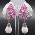 Fashion Party Jewelry White/Champagne Gold Plated Pearl Flower imitation Ruby AAA Zircon Earrings For Women Wedding Accessories