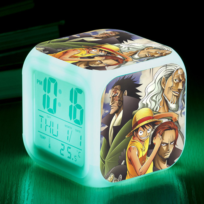 Glowing Led Anime <font><b>One</b></font> <font><b>Piece</b></font> <font><b>Luffy</b></font> Chopper Wanted Action Figure Alarm Clock Saat Despertador Night Colorful Kids Toys image