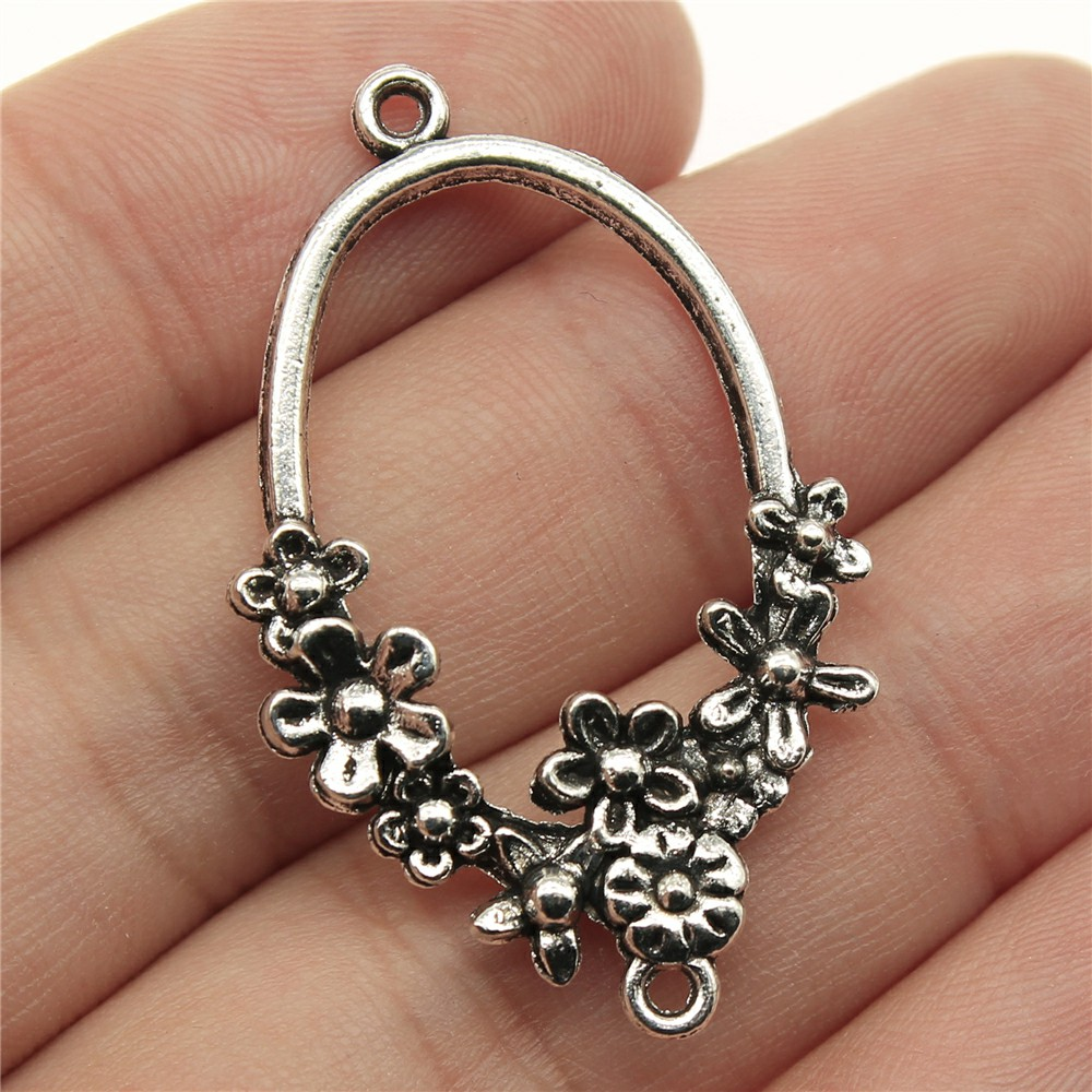 WYSIWYG 5pcs 41x25mm Flower Earring Connector  Jewelry Making Antique Silver Earring Connector Charms Charm Earring Connector