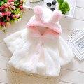 2017 девочка хлопок кролик пальто велюр детская одежда прекрасный Лук clothing девушки младенческой зима новорожденных твердые одежда
