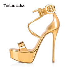 Open Toe Supper High Heel Gold Platform Sandals Womens Summer Patent Leather Black Heels Nude Platforms Ladies Party Shoes 2019