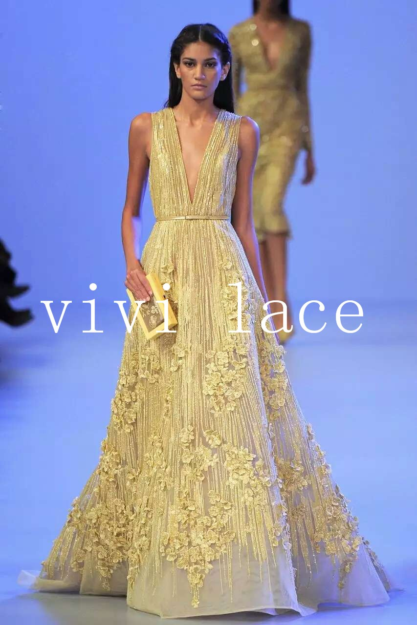 5yardsMJL089   gold 3D applique new fashion show mesh tulle embroidery lace  fabric for party evening dress 2241905a19ff