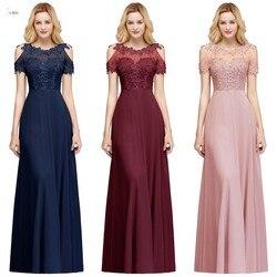 2019 Bordeaux Navy Chiffon Lange Bruidsmeisjekleding 2019 Hals Applique Bruiloft Gast Party Dress vestido madrinha