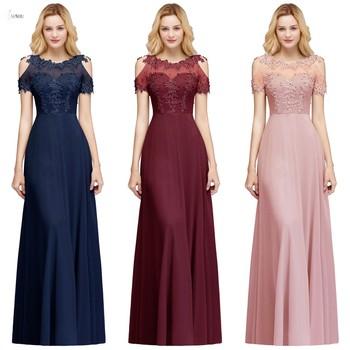 цена на 2019 Burgundy Navy Chiffon Long Bridesmaid Dresses 2019 Scoop Neck Applique Wedding Guest Party Gown vestido madrinha