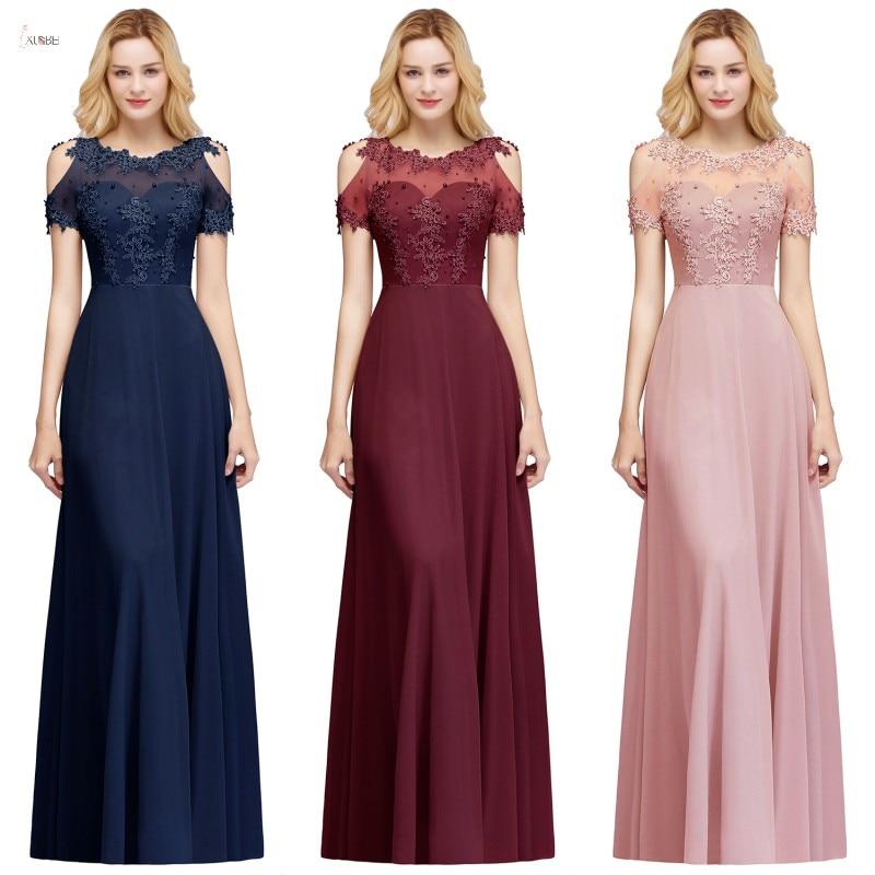 2019 Burgundy Navy Chiffon Long   Bridesmaid     Dresses   Scoop Neck Applique Wedding Party Gown vestido madrinha