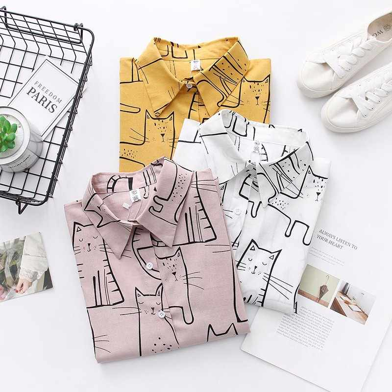 DeRuiLaDy Women 2019 Fashion Turn Down Collar Long Sleeve Shirt Blouse Shirt Cute Cat Print Loose Casual Blosues Tops Ladies