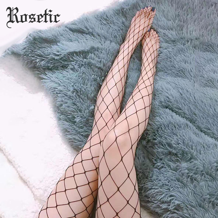 Rosetic Sexy Fishnet Stockings Tight Black Women Summer Girl Fashion Club Party Travel Rock Slim Cool Gothic Casual Pantyhose