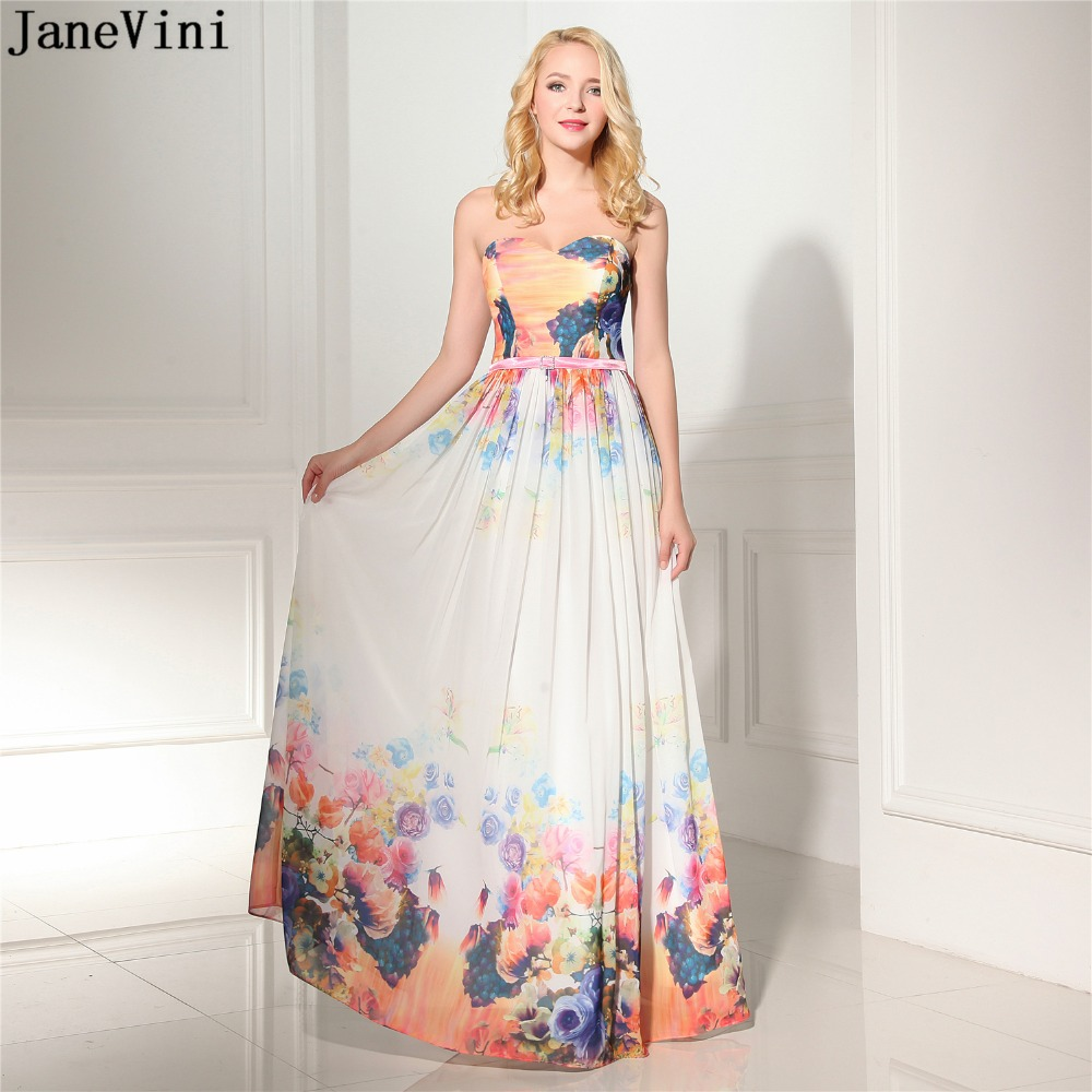 JaneVini 2019 Charming Print Pattern Chiffon Long   Bridesmaid     Dresses   Strapless Floor Length Backless Formal Prom   Dress   for Women
