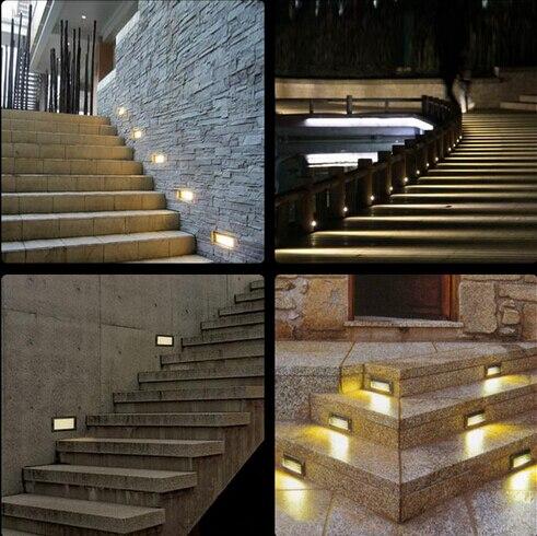 10pcs Super Bright 3W Aluminium LED Wall Corner Light IP65 Waterproof Led  Footlight Stair Lights Square