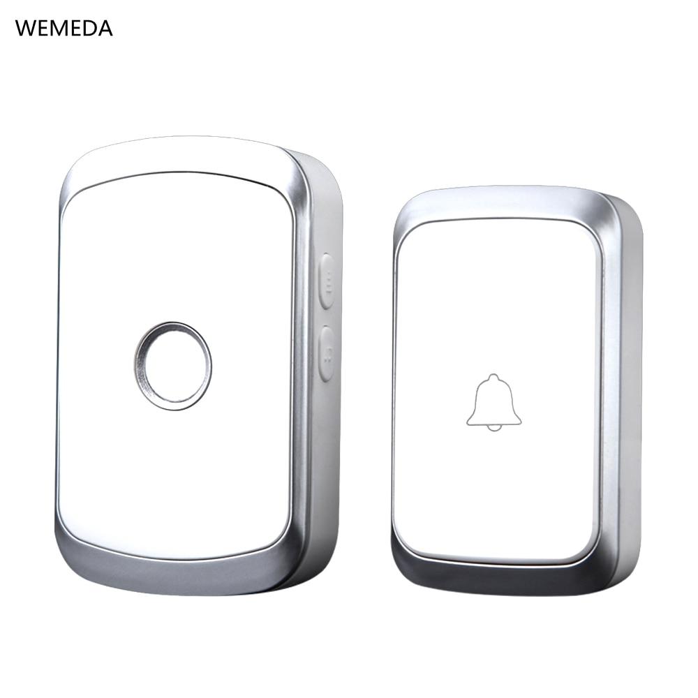 WEMEDA Neueste Drahtlose Türklingel Wasserdicht Batterie Taste EU Plug-Receiver 36 Chimes 4 Volumen LED Licht Startseite Cordless Glocke