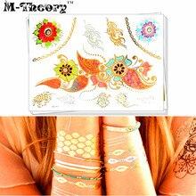 M-Theory Metallic Gold 3D Choker Makeup Temporary Tattoos Body Art Lace Tatto Flash Tatoos Sticker 21x15cm Swimsuit Makeup Tools