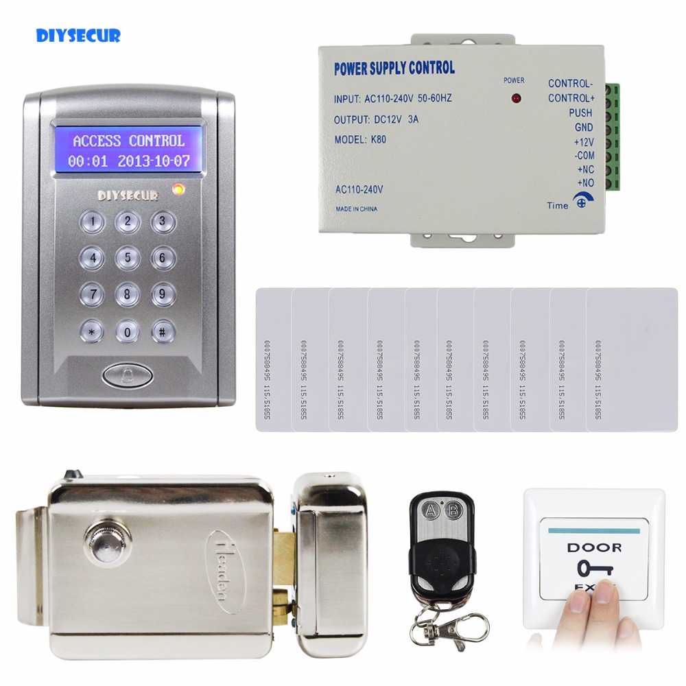 DIYSECUR Remote Controlled 125KHz RFID Door Lock Access Control System Kit with Doorbell Button + Electric Lock BC200 система контроля доступа oem rfid 125 10 bc200
