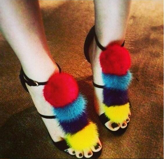 Boules Luxe 2017 Shipping Parti Poils Hauts Sandales Dame Talons Robe À Drop Summer Femmes De Ouvert Coloré Multi Pom Bout gX0qw4wn