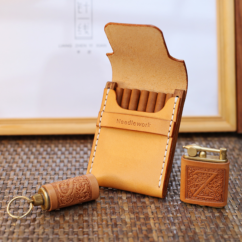 Ultra thin Wooden Cigarette Packs Can Accommodate 7 Cigarette Portable Retro Solid Wooden Cigarette Packs Cigarette
