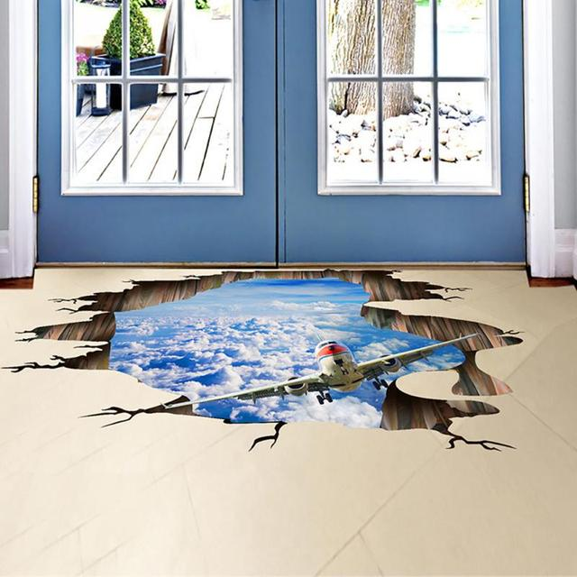 3D Hole View Vivid Sky And Airplane Floor/Wall Sticker Bedroom Living Room Bathroom  Decoration