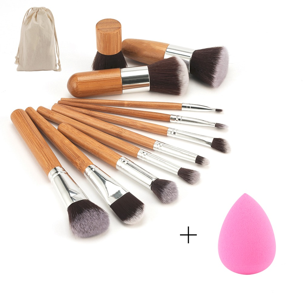 11pcs Pro Bamboo Makeup Brushes Set Blending Eyeshadow Foundation Blush Concealer Brush Facial Beauty Tool With Sponge Puff 1set new 4 in1 makeup beauty diy facial face mask bowl brush spoon stick tool set