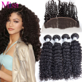 Peruvian Virgin Hair Deep Curly Human Hair 4 Bundles With Lace Frontal Closure 7A Unprocessed Peruvian Curly Hair With Frontal