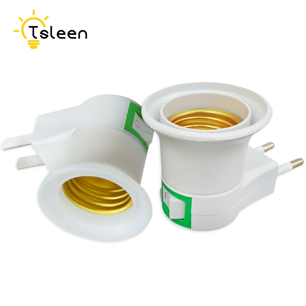 Promotion! 1PC E27 LED Light Lamp Base Male Socket To EU Type Plug Adapter Converter With ON OFF Button Bulb Holder E14