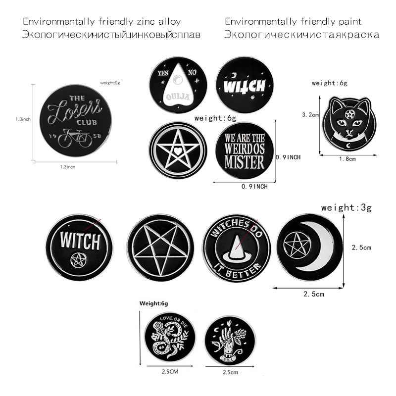 Mengumpulkan Berbagai Bulat Punk Penyihir Koin Gaya Lencana Bros Denim Enamel Kerah Pin Hadiah untuk Pria Wanita Perhiasan Grosir