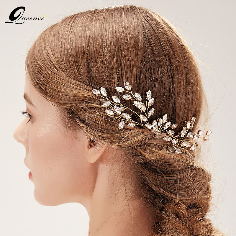 Crystal Hair Jewelry Gold...