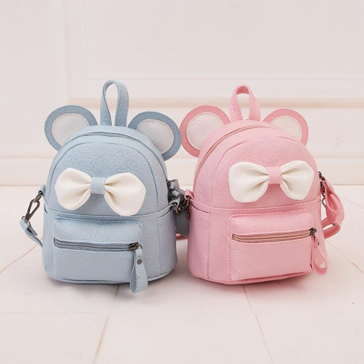 Hot Mickey Ears Leather Backpacks for Teenage Grils Sweet Cute Bowknot Backpack Child Women Shoulder Bag Female Rucksack