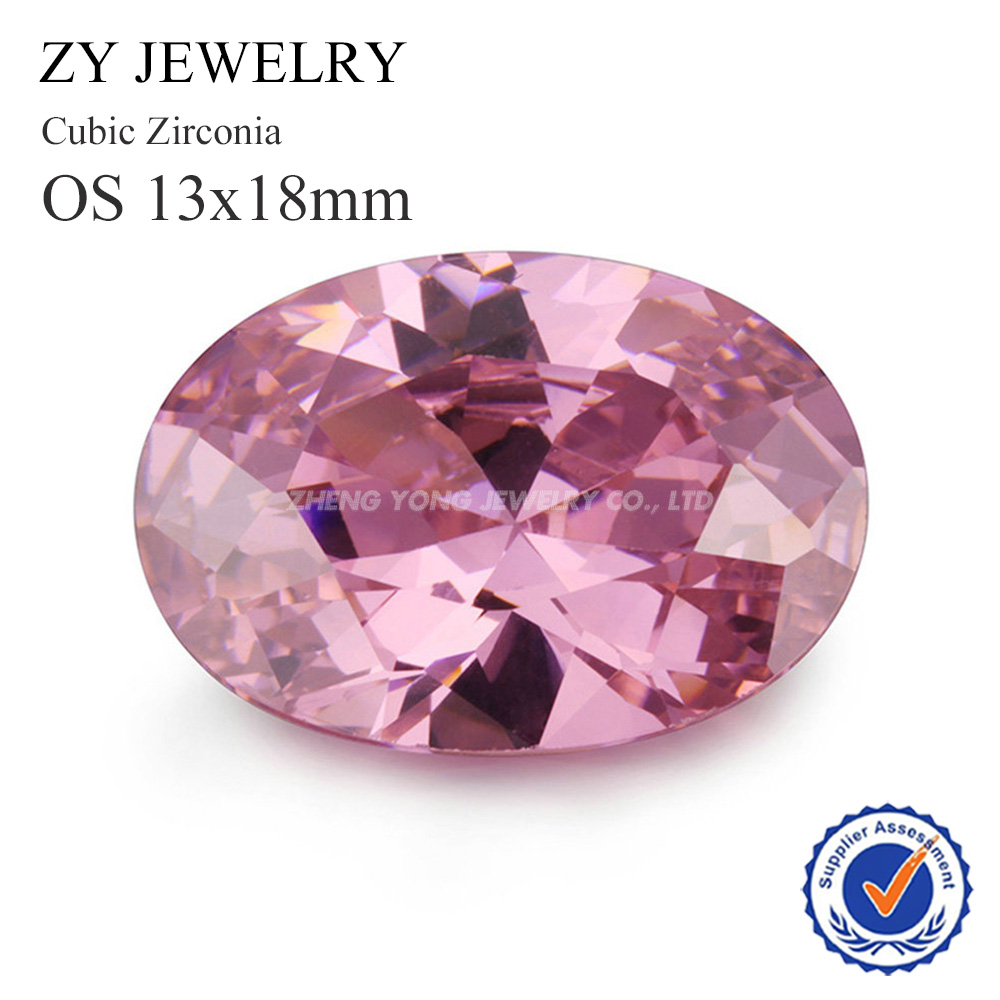 ᗕLoose CZ Stones 13*18mm Oval Shape Pink Synthetic Cubic Zirconia ...
